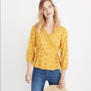 Madewell Yellow Scalloped Eyelet Wrap Top Size L